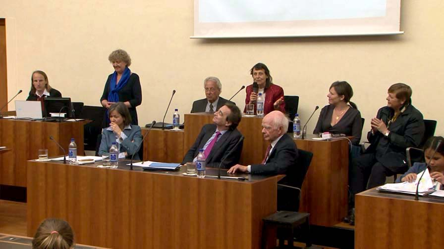 Front row (right to left):Dr. Ervin Laszlo, the Mayor of Lugano Marco Borradori, the Councilor of Culture Giovanna Masoni Brenni <br>Back row:  Dr. Elena Gallo, Dana Amma Day - President COB UK, Dr. Maria Sagi - Science Director of the COB, Videomaker Guido Ferrari, Anna Bacchia, Roman Calzaferri